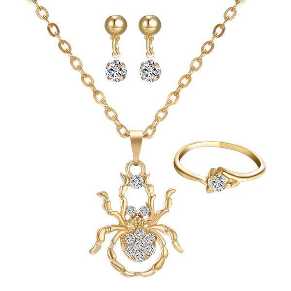 Mode femmes bijoux 3 pcs ensembles collier boucles d'oreilles bague diamant incrusté de spider pendentif colliers pour ensembles de bijoux de demoiselle d'honneur