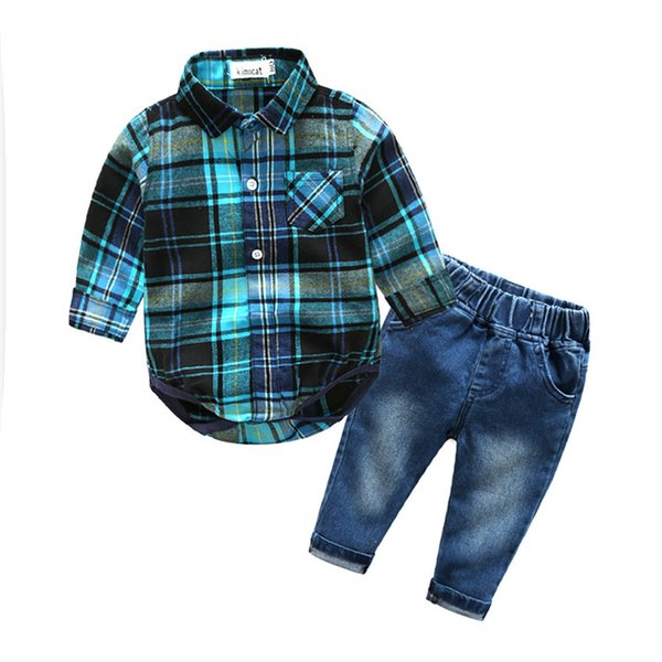 Children clothing sets Long Sleeve Onesie With Jeans Boys Outfits kids grid romper+jeans pant 2piece set