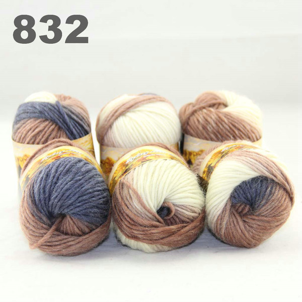 best selling 6balls colorful hand-knitted wool segment dyed coarse yarn fancy knitting hats scarves thick line Dark Bronze White Cool Grey 522832