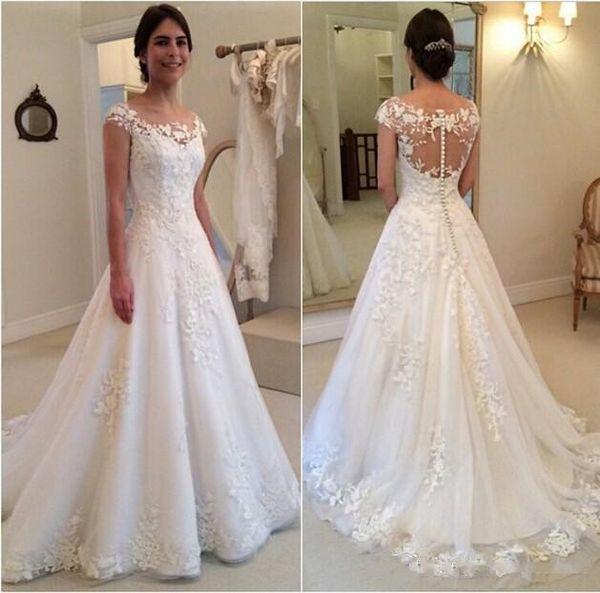 2019 mode t new lace applique wedding dre e a line heer bateau neckline ee through button back bridal gown cap leeve, White