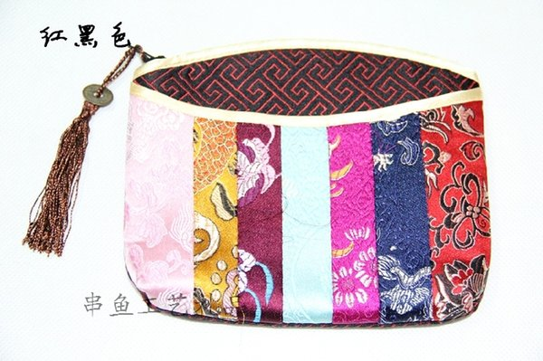 Unique Women Patchwork Small Bag Christmas Wedding Party Favor Zipper Coin Purse Chinese Silk Brocade Tassel Makeup Storage Pouch for Gift