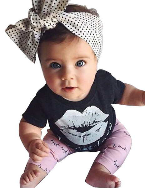 Baby Outfits 2017 Summer Two Piece Suit Casual Cotton Large Lips Tops T-shirt Pants Baby Sport Suit Sets Baby Clothes 344