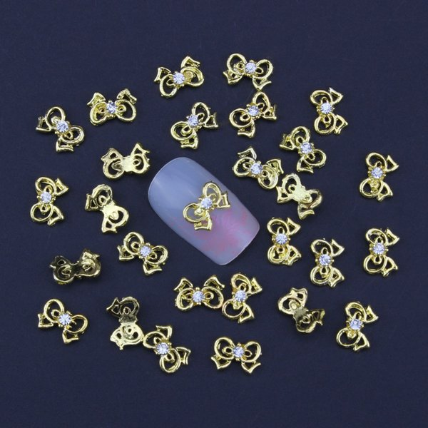 Wholesale- 10pcs Gold Glitter Alloy Bows Rhinestones For Nails,Rhinestones Nail Charms, Nail Art TN930
