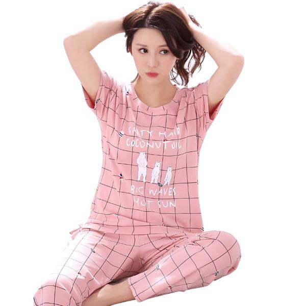 Al por mayor- pijamas de las mujeres conjunto de pijamas de algodón 100% a cuadros pijamas de primavera y verano manga larga femenina ropa de noche encantadora trajes de noche