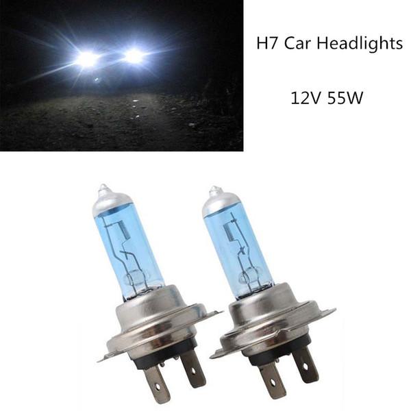 top popular New 2Pcs 12V 55W H7 Xenon HID Halogen Auto Car Head Light Bulbs Lamp 6500K Auto Parts Car Light Source Accessories 2019