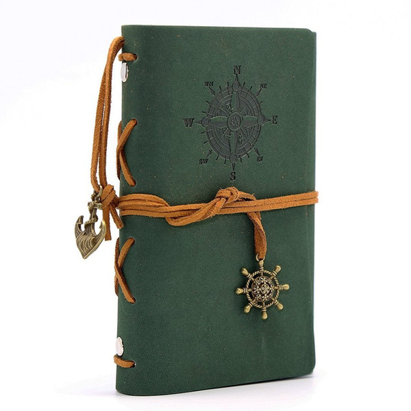 Leather Writing Journal Notebook Vintage Nautical Spiral Blank 6 Ring Binder String Daily Notepad Travel to Write Deep Green