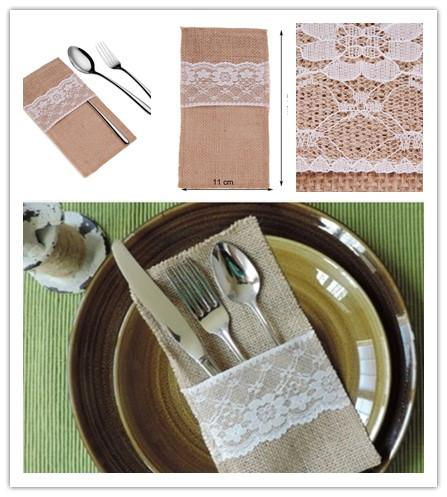 Wholesale- 5 pcs/lot Natural Jute Lace Pockets Rustic Burlap Tableware Holder Silverware Cutlery Bag Christmas Party Wedding Decoration
