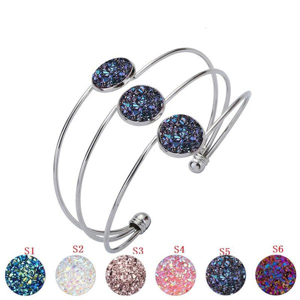 Resin Druzy Drusy Bracelet Cuff Silver/Gold Alloy 5 colors Imitation Lava Stone Bracelet Handmade Fashion Jewelry for women