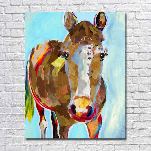 Free shipping top quality canvas art work painting by hand painted mass production famous horse oil painting