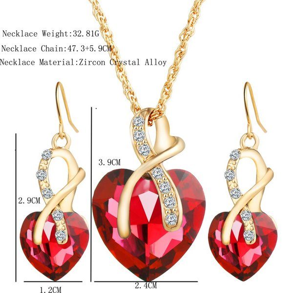 Heart-shaped Austrian crystal zircon earrings necklace set for wedding banquet upscale 4 colors optional free delivery
