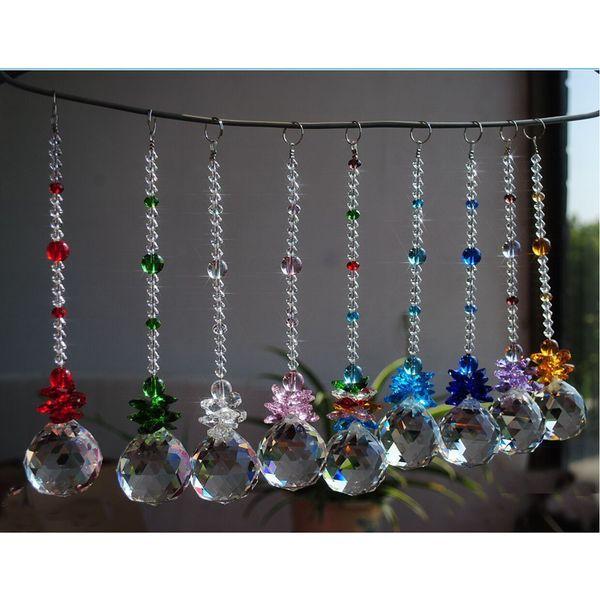 5PCS K9 Crystal Glass Ball Suncatcher Prisms Pendant Handmade Rainbow Hanging Drop Pendants Gift 20mm W017