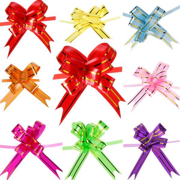 100pcs 8 Color Pull Bow Gift Wrap Wedding Car Decoration Ribbon Strip Decor Decorate Gift Wedding Car Door