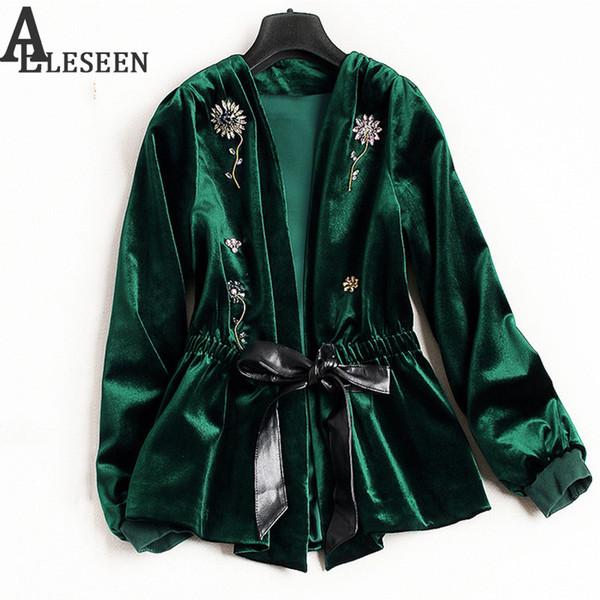 Wholesale- UK Winter New Style Beading Luxury Cardigan Jackets 2017 Long Sleeve Green / Black Flower Velvet Beaded Jacket Women