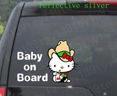 The cowboy Hello Kitty / BABY ON BOARD /wall phone car funny stickers Vinyl Decal Sticker/ reflective silver