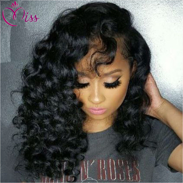 7A Peruvian Human Hair Curly Wig 130 Density Glueless Full Lace Wigs Human Hair with Baby Hair Deep Curly Lace Front Wig