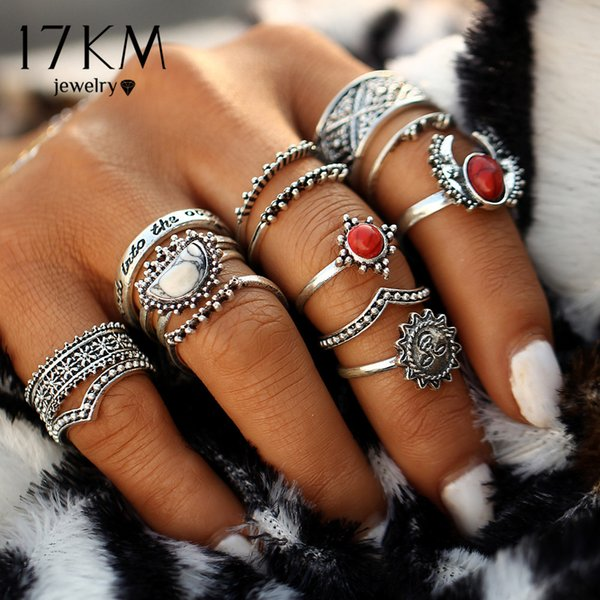 17KM 14pcs/Set Vintage Silver Color Moon And Sun Midi Ring Sets for Women Pattern Female Red Big Stone Knuckle Rings Gift