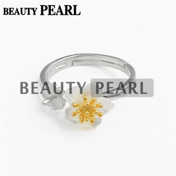 Bulk of 3 Pieces Ring Settings 925 Sterling Silver Finding for DIY Jewellery White Shell Flower Ring