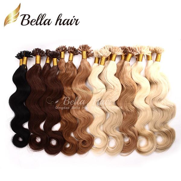 "TOP grade 1g/strand 100g/set Indian Italian keratin Nail U tip hair extensions 18""20""22""24"" #1#2#4#22 Bellahair Pre-bonded Hair"