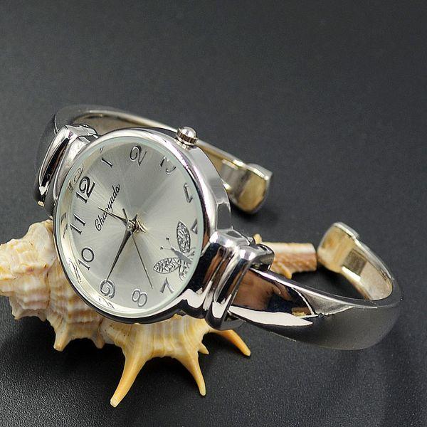 Fashion Women Girl Chaoyada butterfly round dial full Stainless steel Bracelet Wrist Watch 1110