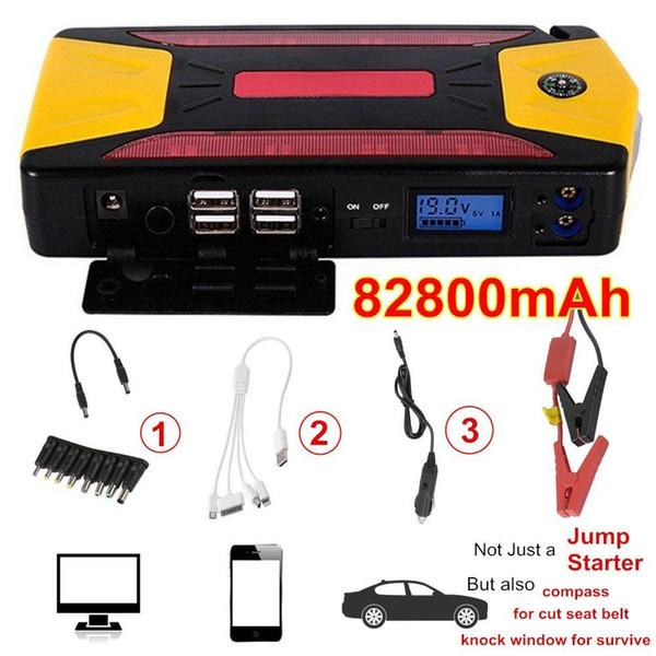 Nouveau professionnel 82800mAh Pack voiture Jump Starter chargeur d'urgence Booster Power Bank Kit de batterie 600A livraison gratuite