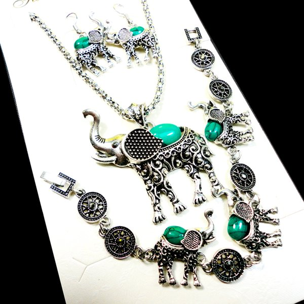 Fashion Jewelry lot Hot major Vintage Antique Silver Elephant turquoise Necklace Pendant Earring For Women Jewelry Sets LR140