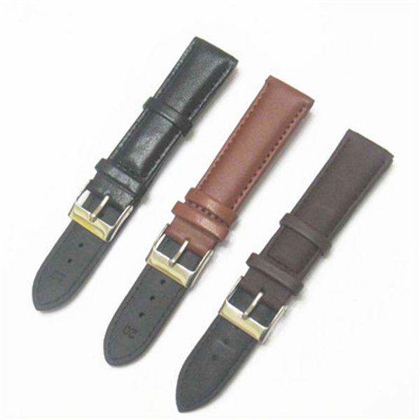 top popular 18mm 20mm 22mm Black Brown Genuine Calfskin Leather Watch Band Strap Watchband 2019