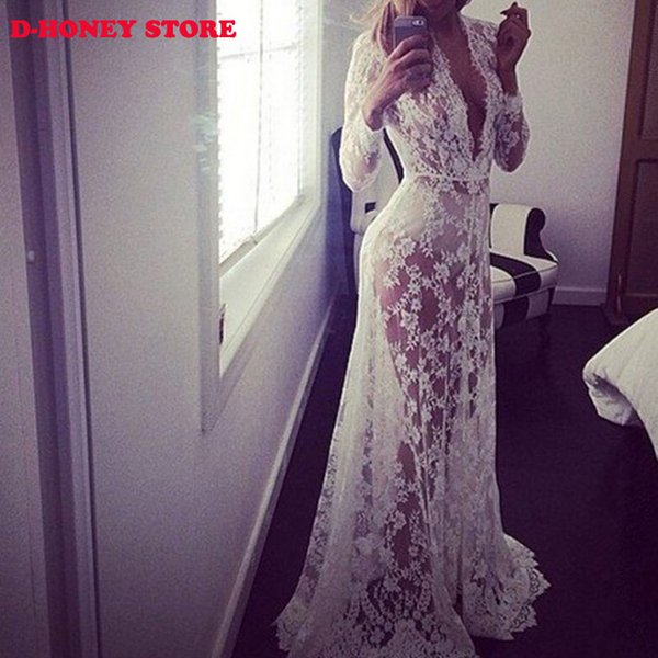 best selling 2016 Maxi Plus Size Women Floor-Length White Autumn Lace Dress Adjust Waist Sexy See Through Floral Vestido dresses for womens