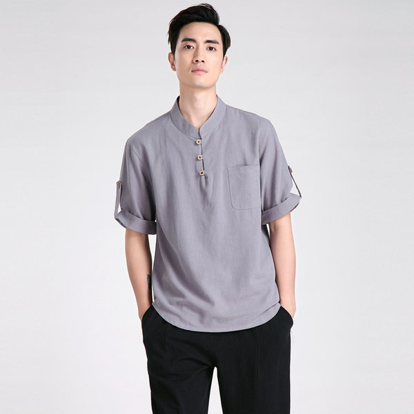 Shanghai Story Chinese Traditional Linen Short Sleeve Tang Suit Tops Chinese Kung Fu Shirt Kung Fu Jacket Kung-Fu Shirt 5 Color