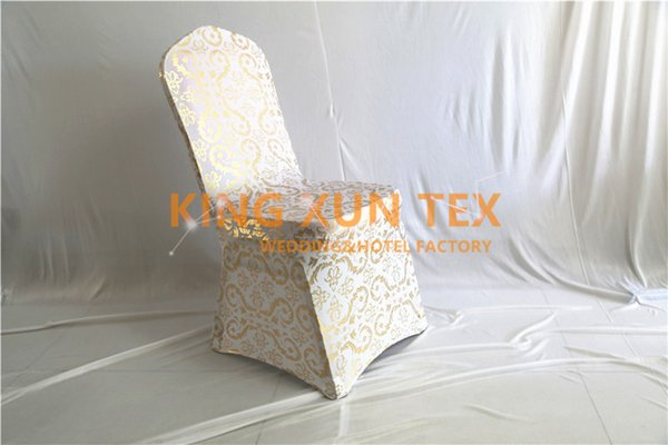 50PCS New Design Gold Bronzing Coated Lycra Spandex Chair Cover For Wedding Banquet Event Decoration
