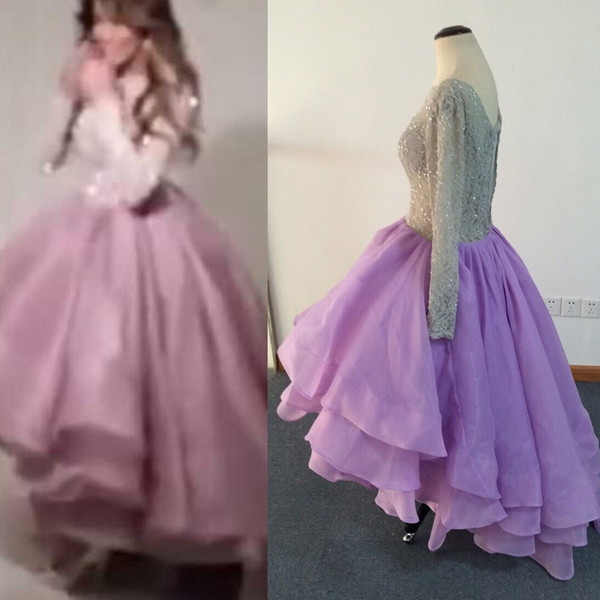 Cheap Hi Lo Prom Dresses with Long Sleeves vestidos de fiesta Silver Lace Beaded Tiered Organza Middle East Party Dresses