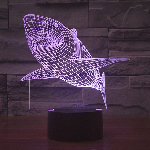 Free Shipping 7 colors changing USB charge MOVIE JAWS Acrylic 3D LED night light illuminated led table lamp flash 3D LED Lamps