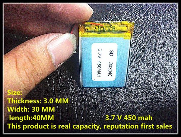 Hot selling 3.7V 450mAH 303040 PLIB polymer lithium ion / Li-ion battery for dvr GPS mp3 mp4 cell phone speaker