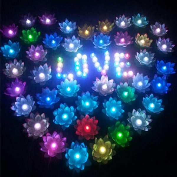20Pcs/lot Artificial LED Candle Floating Lotus Flower With Colorful Changed Lights For Birthday Wedding Party Decorations Supplies Ornament