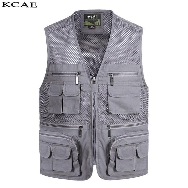 best selling Wholesale- New Summer Casual Breathable Mesh Vest Men Fast Dry Photographer Sleeveless Jacket Multi-Pockets Outdoors Hike Hunt Fish Vest