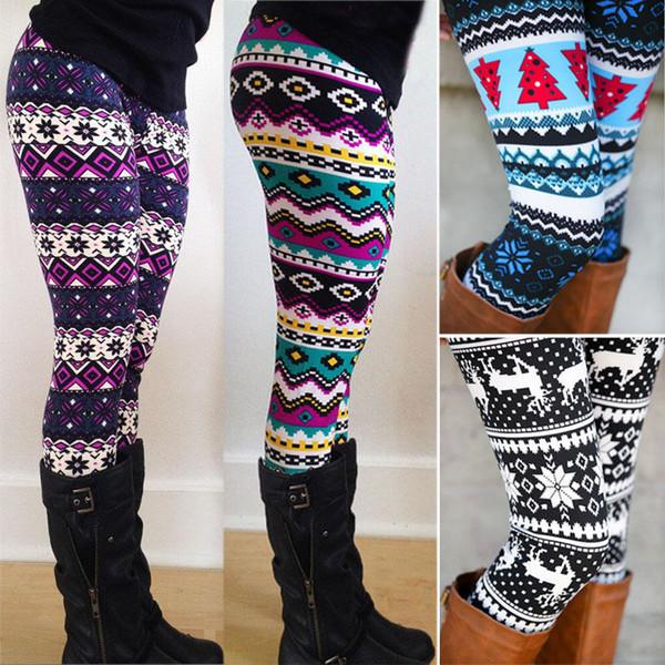top popular Aztec Leggings For Women Stretchy Knit Christmas Snowflake Leggings Ankle Length Tribal Printed Casual Skinny Slim Legging 2019