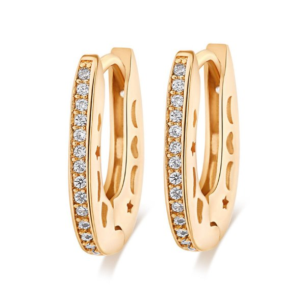 Most fashion desing 18K Yellow Gold Plated CZ Hollow Star Moon U shape Clip hoop Earrings jewelry for girls for weding party