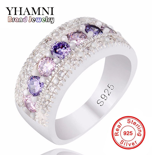 YHAMNI Real Solid Silver Wedding Rings for Women Colorful AAA Diamond Princess Party Beautiful Finger Rings Fine Jewelry PJ147