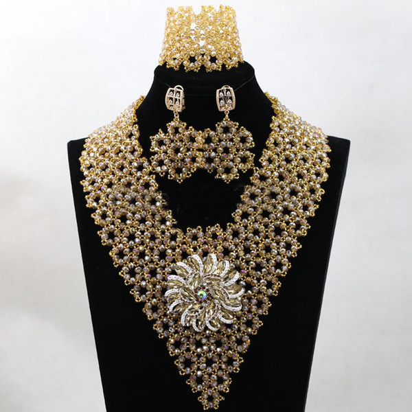 New 2019 Gold African Beads Nigerian Wedding Necklaces Women S