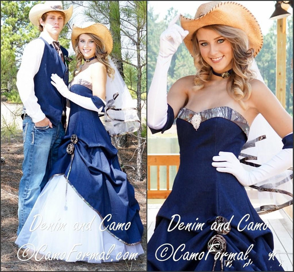 Discount 2016 New Arrival Cowboy Camo Wedding Dresses Blue Denim A ...