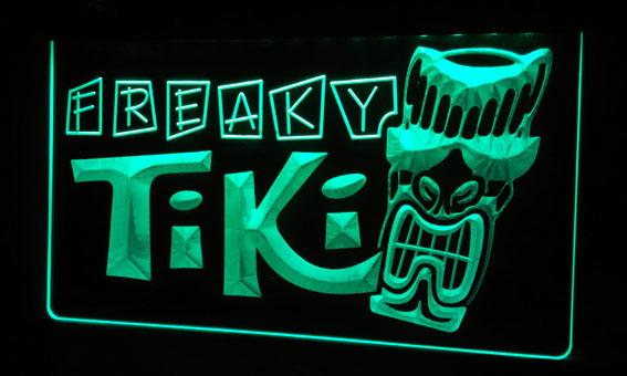 LS299-g Freaky Tiki Bar Mask Pub Beer Neon Light Sign