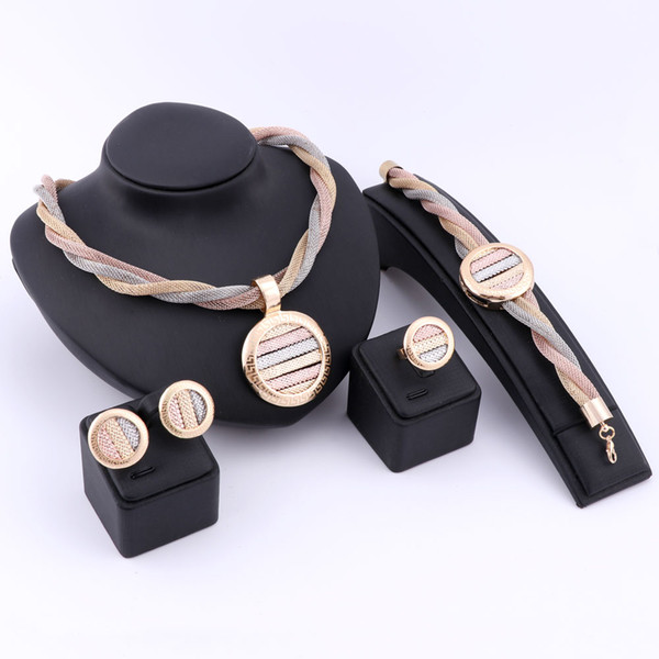 Dubai 18K Romantic Gold Silver Plated Crystal Necklace Earrings Ring Bracelet Jewelry Sets For Girlfriend Women Wedding Party