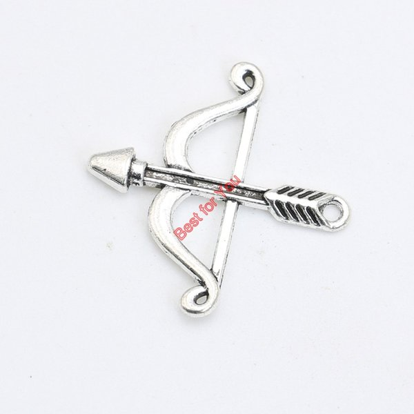 Antique Silver Plated Bow Arrow Charms Pendant Bracelet Necklace Jewelry Making DIY Handmade 25x25mm