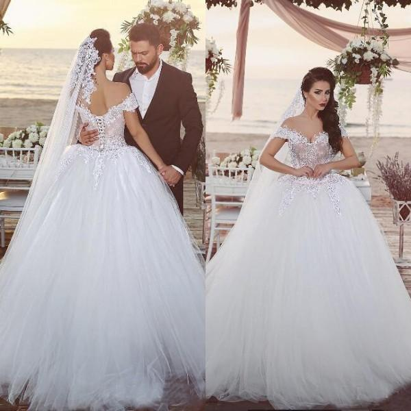 Arabic Big Ball Gown Wedding Dresses Off The Shoulder Nude Lined