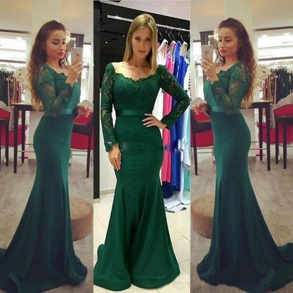 2017 Modest Dark Green Evening Dresses Long Sleeve Lace Stain Elegant Long Mermaid Fishtail Party Dress Formal Prom Gowns Vestidos