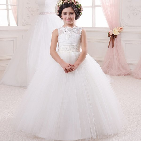 Navy Blue and White Flower Girl Wedding Tutu Dress A Line Floor Length pageant Gown for little Girls Kids communion Dress 2017 Fashion