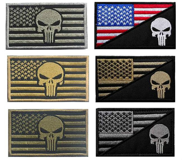 top popular 3.15*2 inch 3D Embroidered Pacthes with magic tape Punisher American Flag Outdoor Army Armband patch Sew On Patch spersonality VP-11 2019
