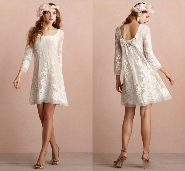 Mini Short Wedding Dresses Square Neckline Long Sleeves Backless Wedding Dress Appliqued Lace Beach Bridal Gowns