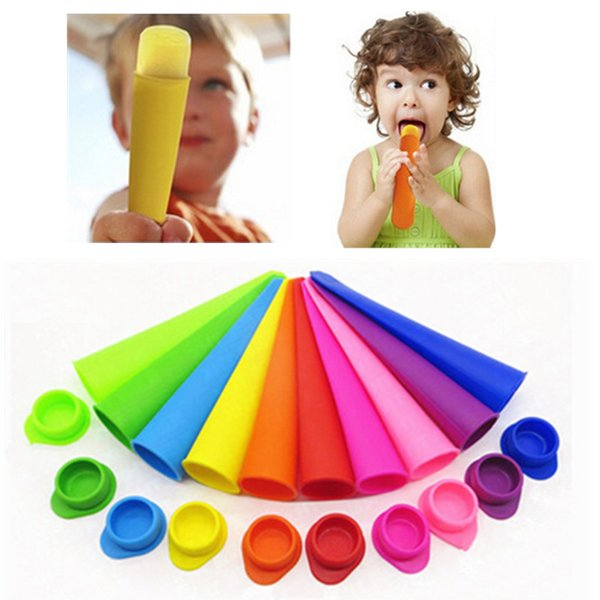 best selling 10 Colors Silicone Ice Cream Tools Frozen Ice Pop Popsicle Molds Tools Freezer Ice Cube Tray Maker Popsicle