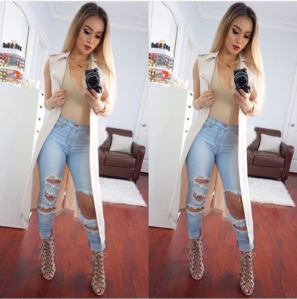 top popular 2016052920 New Arrival ripped big hole tassels high waisted jeans washed full length denim pants trousers plus size women womans 2021