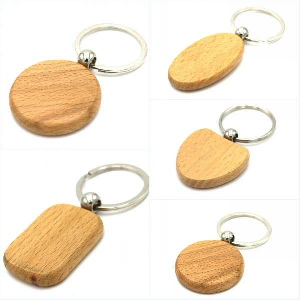 Cute Customized Blank Wooden Keychains Personalized Keychain Carving DIY  Rectangle Square Round Heart Shape As Ideal Gift E721E